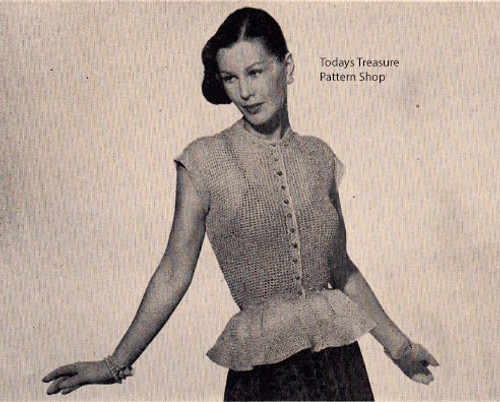 Knitted Peplum Blouse Pattern in Silver Lame