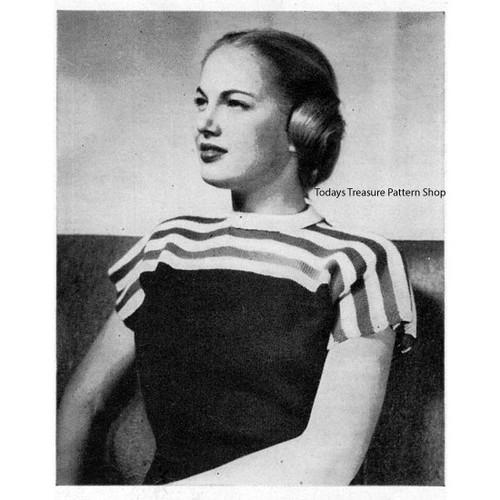 Vintage Knitted Blouse Pattern, Striped Yoke