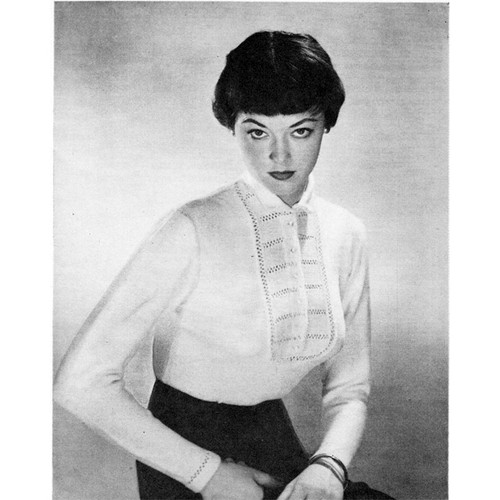 Knitting Pattern Shirt Front Blouse, Vintage 1950s