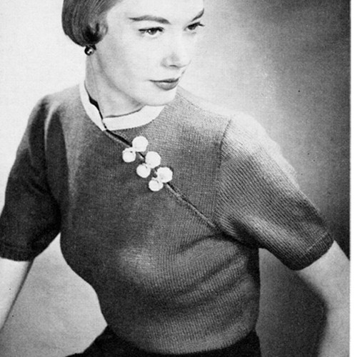 Vintage Mandarin Knitted Blouse Pattern with Short Sleeves