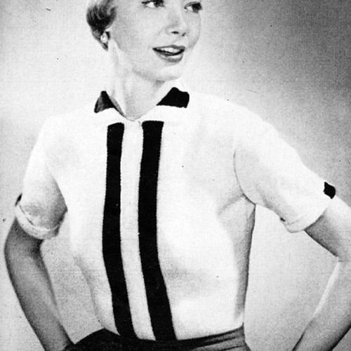 Knitted Striped Panel Blouse pattern, Vintage 1950s