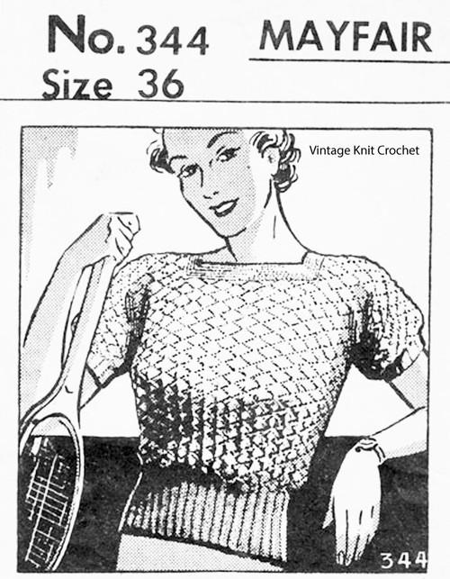 Knitted Short Sleeve Blouse Pattern, Vintage 1936