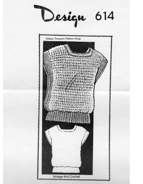 Knitted Tabbard Top Pattern, Square Neck, Maill Order 614
