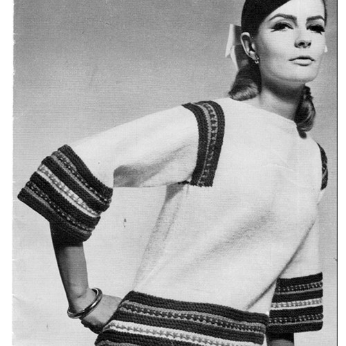 Knitting Pattern for Blouse with Color Bands