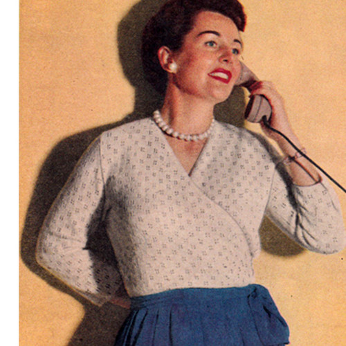 Vintage Knitting pattern for Womans Surplice Blouse