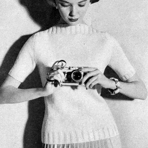 Vintage Short Sleeve Sweater knitting pattern with boat neck
