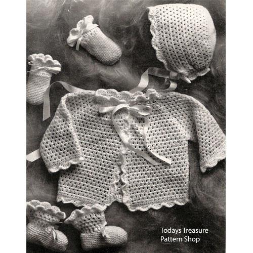 Four Piece Crochet Baby Set Pattern