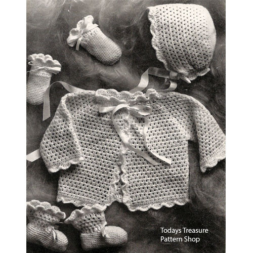Four Piece Crochet Baby Set Pattern