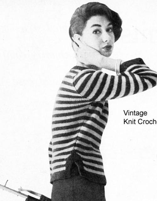 Vintage Stripe Knitted Pullover Pattern
