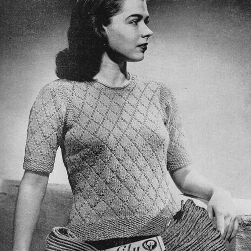 Diamond Stitch Knitted Blouse Pattern