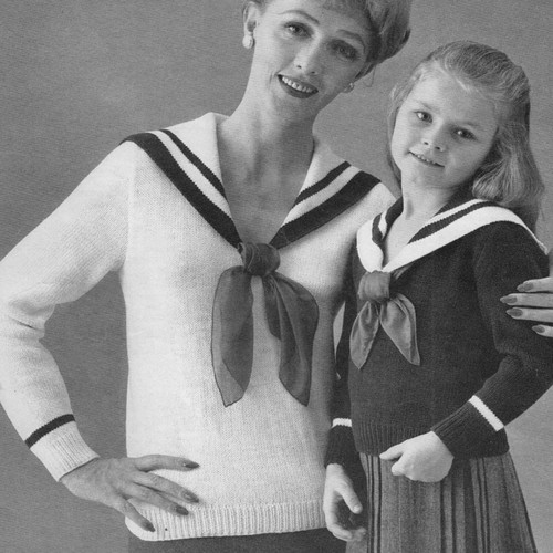 Girls Knitted Sailor Blouse pattern