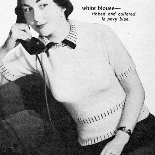 Knitted White Blouse Pattern, Vintage 1950s