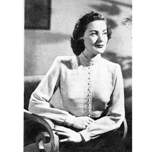 Vintage Knitting Pattern Buttoned Shirt Blouse