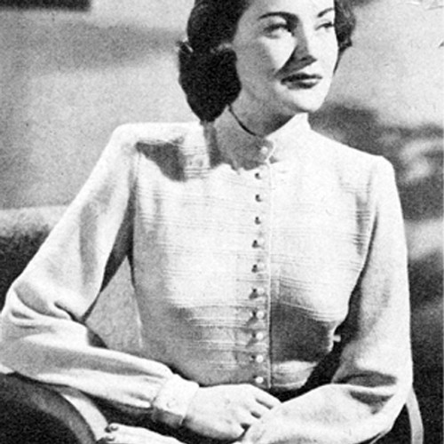 Buttoned Blouse Knitting Pattern, Long Sleeves
