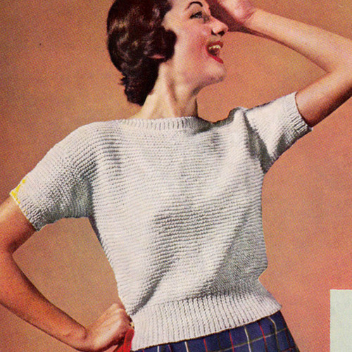 Vintage Pullover Blouse Knitting pattern with Short Sleeves