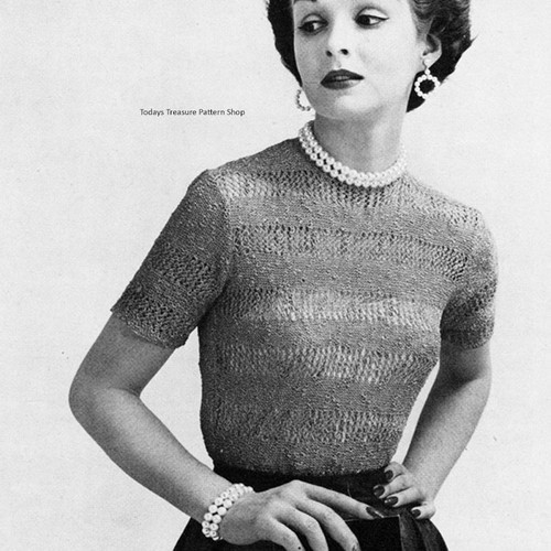 Lace Band Knitted Blouse pattern