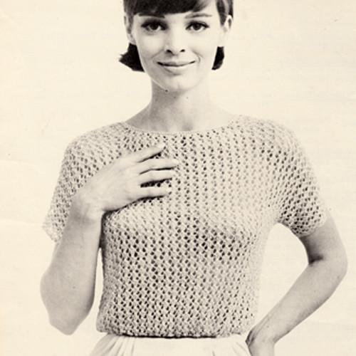 Knitted Blouson Pattern, Short Sleeve