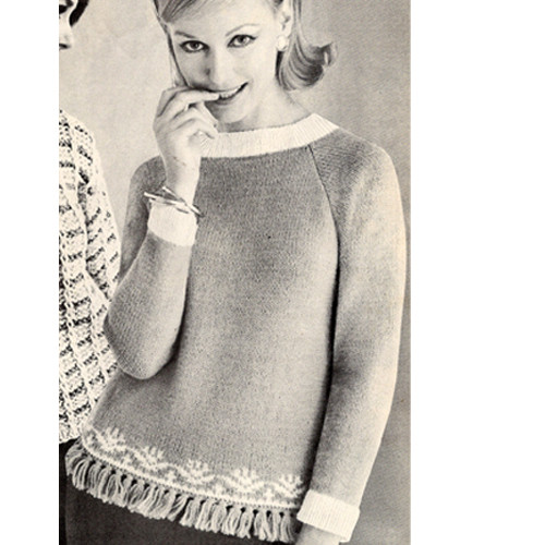 Knitted Border Pullover Pattern with Fringe