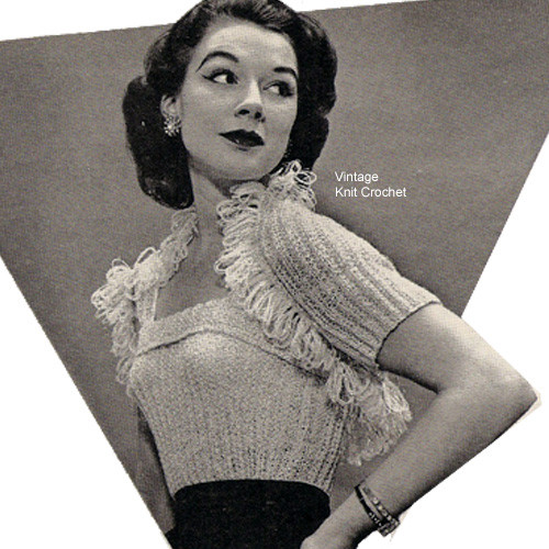 Shrug Knitting Pattern with Fringed edge.