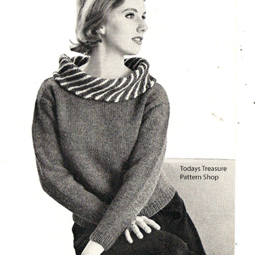 Vintage Knitted Sweater with Cowl Neckline Pattern