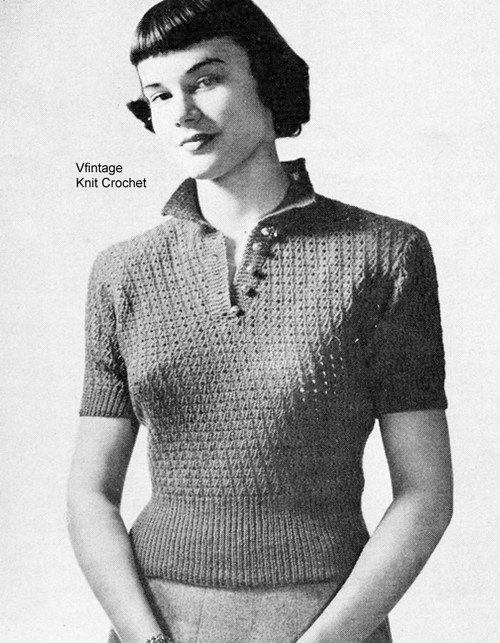 Knitting Short Sleeve Top Pattern, Vintage 1947