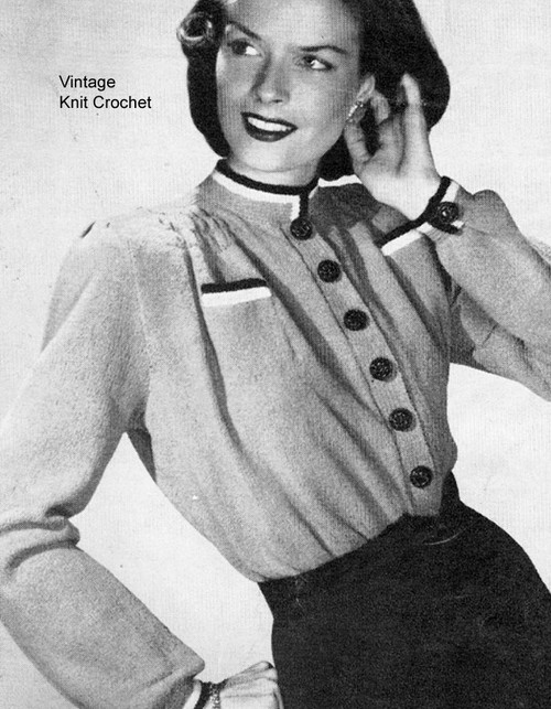 Long Sleeve knitted blouse pattern, vintage 1940's