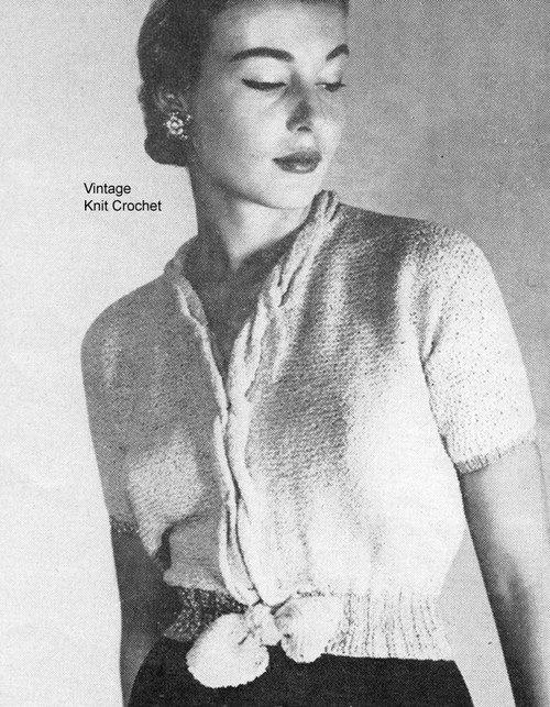 Vintage Blouse Knitting Pattern, Tied Waist