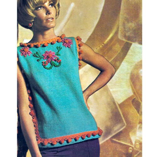 Knitted Tunic Pattern with Ball Trim