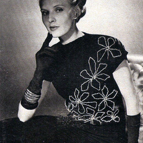 Flower Embroidered Knitted Blouse pattern