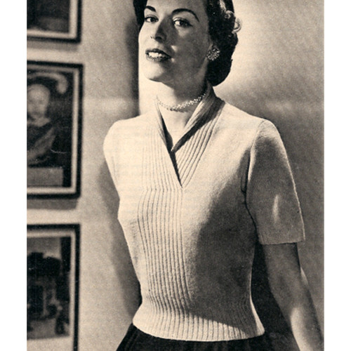 V-Neck Knitted Pullover Blouse Pattern