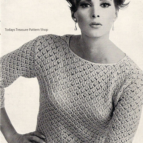 Knitted lacy Blouse Pattern, Plus Size