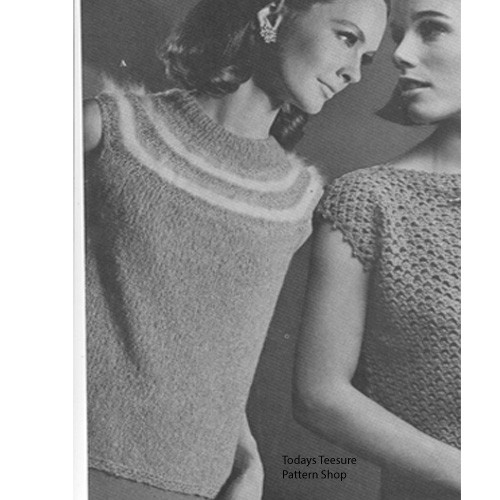 Vintage Knit Angora Sleeveless Top Pattern