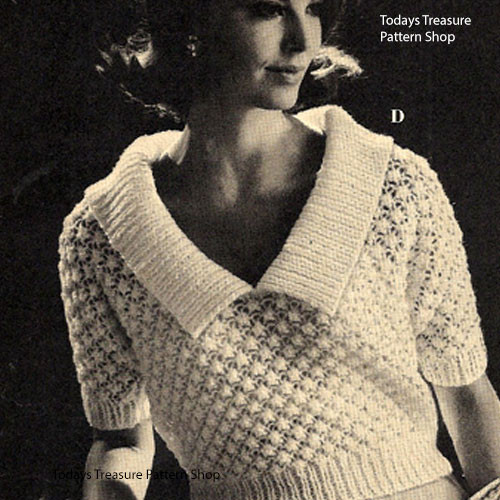 Vintage Lace Blouse Knitting pattern with large collar