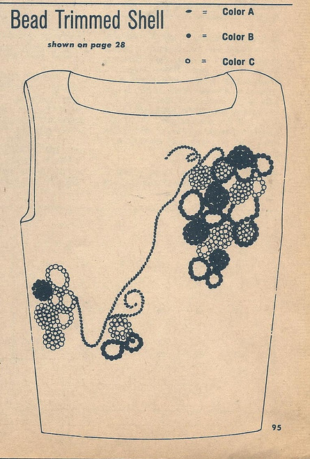 Bead Flower Trim Illustration for Knitted Shell