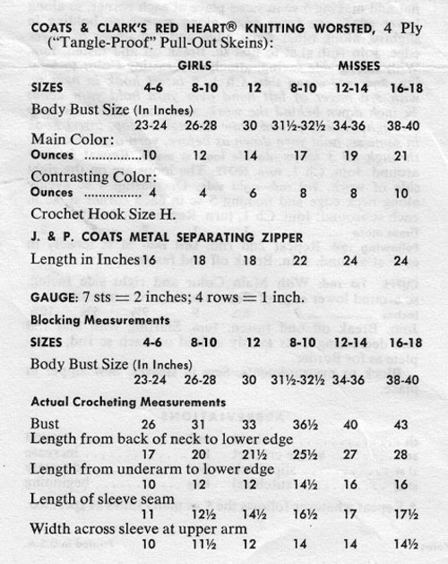 Size and Material Chart for Crocheted Parka