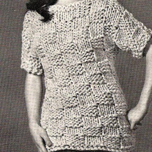 Knitted Block Stitch Tunic Pattern, Vintage 1960s