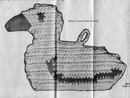 Crochet Chicken Potholder Illustration
