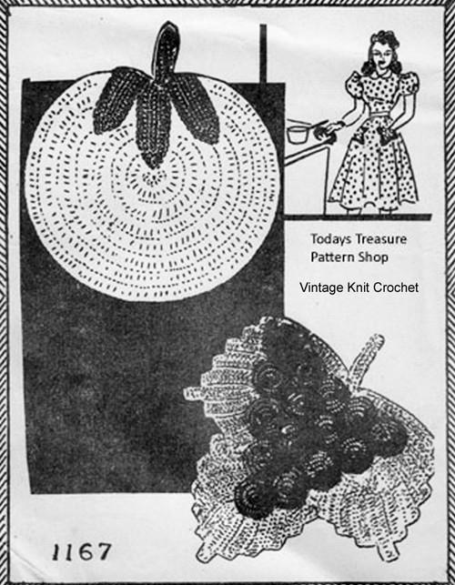 Crochet Grape Tomato Potholders Pattern Design 1167