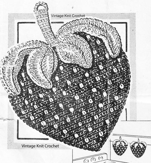 Giant Crochet Strawberry Potholder Pattern, Mail Order 5333