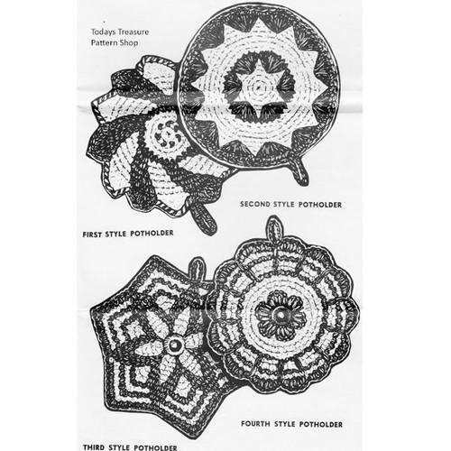 Round Crochet Potholders Pattern in Motifs