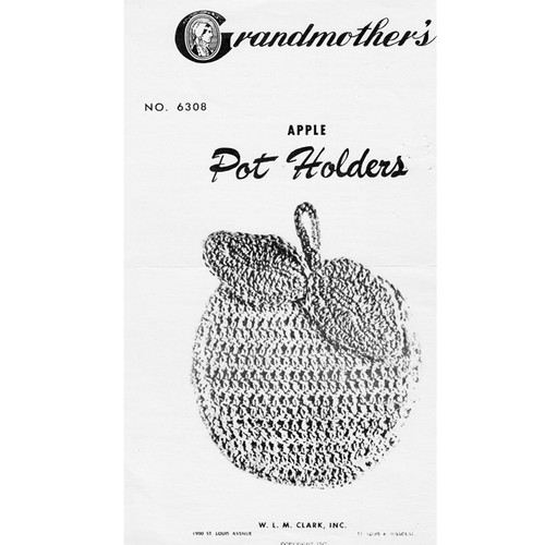 Vintage Apple Crochet Potholders pattern