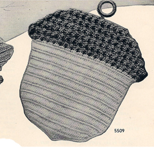 Vintage Crochet Acorn Potholder Pattern