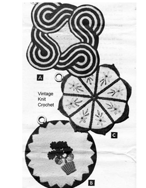 Crocheted Potholder Pattern, Square Scroll, Flower Motifs