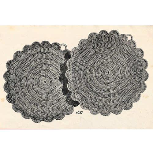 Crochet Sunflower Potholders Pattern, Vintage 1950s