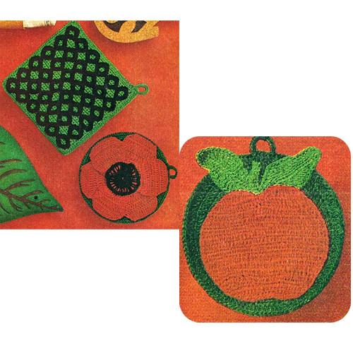 Crochet Apple, Poppy, Lattice Potholders Pattern