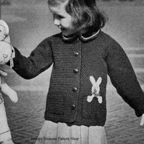 Crocheted Childs Cardigan Pattern with Bunny