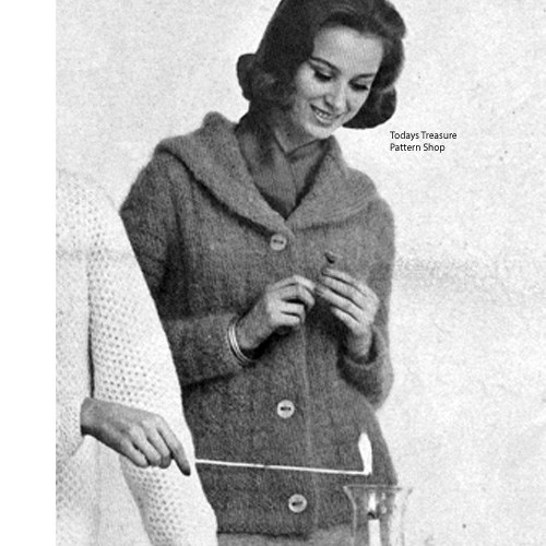 Knitted Jacket Pattern with Large Collar in Basket Weave