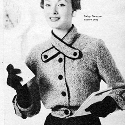 Short Jacket Knitting Pattern with Crossed Neck Bands