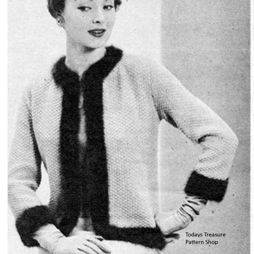 Angora Trimmed Knitted Jacket Pattern