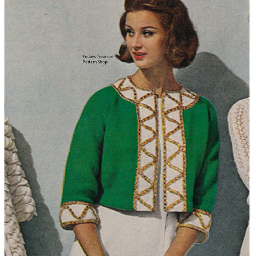 Sequin Trimmed Cropped Jacket Knitting pattern